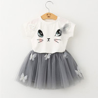 Wholesale Girl Cat Dress - 2017 Hot Selling Baby Girl Dress Cute Cat Face Princess Party Pageant Holiday Tutu Dresses 3-8T