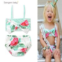 Wholesale Toddler Two Piece Bikini - Baby Girls Flora Bathing Cyan Color Big Bow Big Flower Printed Striped Two-piece Bikini Infant Toddler Girls' Swimsuits
