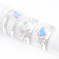 Barato Anel De Prata Opala Azul-Mix Color Style 4PCS / Lot Classic Round Blue White Opal Gemstone 925 Silver Crown Rings para Casamentos Party Holiday Gifts