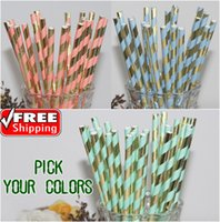 Wholesale Mint Paper Straws Wholesale - Wholesale-Free DHL 1000pcs Vintage Paper Straws Bulk-Pick Colors-New Metallic Gold and Mint Light Blue Pink Striped Paper Straws Colored