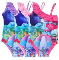 Wholesale Sling Swim Wear - Girls Trolls One-Pieces Swimsuit 2017 New Children Cartoon Trolls Sling Baby Bikini Swimming Wear Kids Summer Clothes