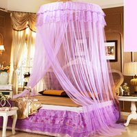 Wholesale Magic Mosquito Net - 110*270*1280Cm Mosquito Net Bed Net Mosquito Curtain High Density Round Lace Double Bed Nettings Magic Princess Bedding Ceiling Nets