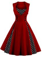 vestidos de mujer al por mayor-Hot Europe Fashion Women's Patchwork Swing Summer Dress Lady's Vintage cruzado sin mangas Vestidos ocasionales