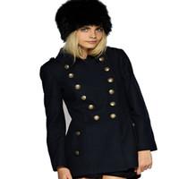 göğüslü askeri kat toptan satış-Kadın Kış Vintage Sıcak Yün Palto Napolyon Askeri Kruvaze Kış Coat