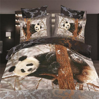 Wholesale tiger print sheets - Wholesale- new dropship LUXURY polyester 3D panda flower tiger bedding bed sheet set bedclothes duvet cover set bedding set