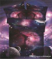 cama de espacio reina al por mayor-Comercio al por mayor 3 UNIDS Hipster Galaxy 3D Juego de cama Universo Espacio ultraterrestre con tema Galaxy Imprimir Ropa de cama Funda nórdica funda de almohada