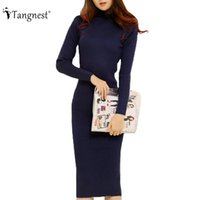 Wholesale Sexy Black Lace Turtleneck Dress - TANGNEST Fashion 2016 Women Autumn Winter Sweater Dresses Slim Turtleneck Sexy Bodycon Solid Color Robe LongKnitted Dress WZQ128
