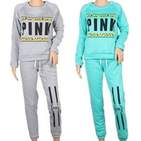 Wholesale hoodies pants sports wears - Autumn Women Sport Wear Tracksuits Women Pink Letter Print Thin Sport Suit Hoodies Sweatshirt With Pant Jogging Sportswear 2pc Set