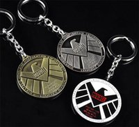 águila de latón antiguo al por mayor-Agentes de Marvel antiguos de moda de S.H.I.L.E.D Logotipo de águila Color de latón KeyChain Avengers de llaveros de joyería para los fanáticos