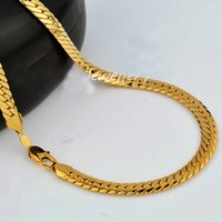 """Wholesale 9ct Gold - 18K 9CT Yellow Real SOLID GOLD GF Open LINK Wide 9mm CHAIN NECKLACE 23.6"""" sp88 MENS WOMANS Jewelry Flourishing"""
