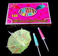 Vente en gros-144Pcs Décorations de mariage mini parapluies, Peacock Cocktail Drink Fruit Cake Sticks, guirlande de papier cure-dents d'art, livraison gratuite.