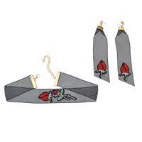 schwarze goldspitze ohrringe großhandel-idealway New Fashion Vergoldete schwarze Spitze Blume Choker Halskette baumeln Ohrringe Schmuck Sets