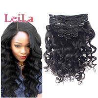 Wholesale african human hair extensions resale online - Hot Sell Clip in Human Hair Loose Wave African American Clip in Human Hair Extensions A Brazilian Virgin Hair Loose Wave