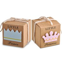 Wholesale princess houses - Princess or Prince Candy Box Kraft Paper Baby Shower Gift Boxes Wedding Party Decoration Faovrs Yellow color New