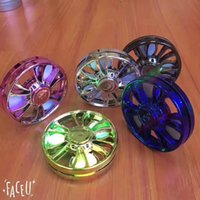 Wholesale Car Led Toys - Car Wheel Hand Spinner Metallic LED Flashing EDC Tri-Spinner Fidget Toys Rainbow Fidget Spinner and ADHD Adults Children Toy Hobbies Chromed