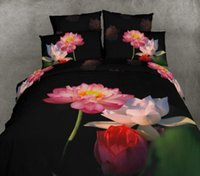 Wholesale Comforter Lotus - New Comforter Bedding Sets 3D Bed Sheet Set Duvet Cover Lotus black queen Size Beddings 100% Cotton Reactive Printing Beds