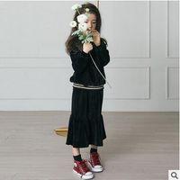 Wholesale Korean Style Long Skirts - Children princess outfits Autumn Girls Korean velvet pure color pullovers+Falbala long skirts 2pcs Leisure sets Kids fashion clothes C1758