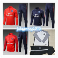 Wholesale Football Training Kits - AAA+ quality 2017 2018 NEYMAR JR DI MARIA CAVANI Paris training suit soccer Jerseys kit 17 18 VERRATT paris football jacket tracksuit set
