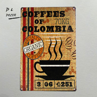 Wholesale Halloween Shabby - DL- Vintage wall sticker Coffee of Colombia Shabby Chic Friends quote Tin wall plaque
