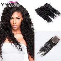 Wholesale Cheap Unprocessed Deep Wave Hair - YYONG Hair Cheap 3 Bundles Brazilian Deep Wave Hair With Lace Closure 8A Unprocessed Brazilian Human Hair Weave Extensions #1B Free Shipping