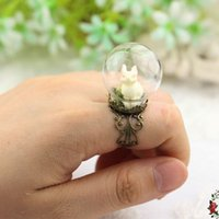 Wholesale New ring retro creative rabbit jewelry Europe and the United States exaggerated glass hood ring