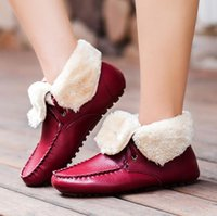 Wholesale Lady S Winter Boots - Women 's winter shallow mouth cotton shoes women' s wear cashmere casual peas shoes ladies leather flat with warm boots G1057