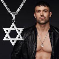 erkekler için altın yıldız zinciri toptan satış-U7 David Yıldızı Magen Kolye Kolye Yahudi Takı Kadın Erkek Zincir 18 K Altın / Siyah Gun Kaplama Paslanmaz Çelik İsrail Kolye Hediyeler