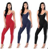 ingrosso yoga jumpsuits-vendere hot tute da donna 6 colore cablaggio pagliaccetti tight yoga outfit fitness all'aperto da jogging vestiti S-XL pantaloni da donna yoga