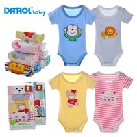 Wholesale Infants Rompers Baby Animal - 5 pieces lot DANROL 3M-24M Summer Baby Short Sleeve Rompers Baby boys and girls Cotton Infant Newborn Baby Clothing Gift DR0142