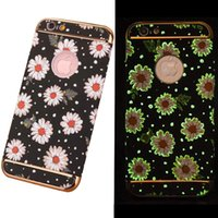 Wholesale Doodle Case - Noctilucence Night Light Luminous Flower Colorful Doodle Phone Case For iPhone 7 6 6s Plus Back Cover Shell OPP Bag