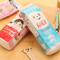 Wholesale Cute Pen Purse - Cute Kawaii Creative Milk Cartoon School Pencil Case Pen Bag Stationery Student Coin Purse School Supplies Kids Children Birthday Gift WD462