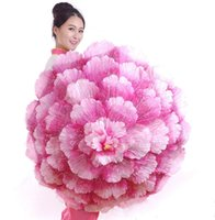Wholesale Handling Peony - 70cm Retro Chinese Peony Flower Umbrella Props Dance Performance Props Wedding Decoration Photograph Fancy Dress Umbrella LLFA