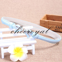 Wholesale Thin White Pearl Belt - Wholesale- 2016 Waist thin Belt New FashionWomen Blets ceinture candy color thin Girl Lady Bowknot Stretch Elastic thin Pearl Brand YFN441