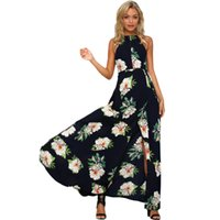 Wholesale Maxi Dresses Tall - The American and American station prints tall, sleeveless and sexy off-the-shoulder, strapless dresses