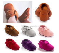 Wholesale First Walker Shoes Leather baby moccasins bow moccs Top Layer soft leather moccs baby booties toddler shoes DHL FREE