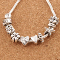 Wholesale Silver Flower Spacer Beads - Nice Design Heart Big Hole Spacer Beads 140pcs lot Tibetan Silver Fit Charm Bracelet Jewelry DIY Metals Loose Beads LM37