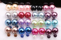 Wholesale Cheap Gold Earrings For Women - Double sided Pearl Crystal Earrings with Retail packaging candy ball gold plated Crown stud Earings cheap wedding jewelry for women girls