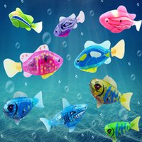 Wholesale Robot Fish Led - 1Pc New Baby toys Swimming led Light Fish Activated Battery Powered Robot Fish For Baby Bathing Toys send by random LA874465