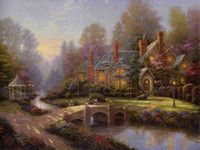 Wholesale Framed Art Reproductions - Thomas Kinkade Landscape Oil Painting Reproduction High Quality Giclee Print on Canvas Country Garden Villa Modern Home Wall Art Decor Gift