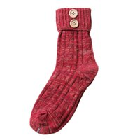 согревает носки оптовых-Wholesale-Women's Warm Knitted Cashmere Socks Elastic Flanging short Socks Vintage flanging Buttons wool socks