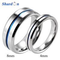 Wholesale Tungsten Couples Wedding Rings - SHARDON Lover's Beveled Tungsten Carbide High Polished Wedding Band Ring Blue Line Engagement Ring Wedding Band for couples