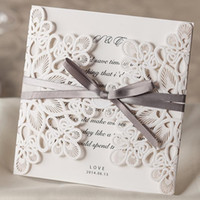 Wholesale Sample Wedding Envelope - Wholesale-1 Set Sample Of Laser Cut White Wedding Invitations Wishmade (1 Card +1 Ineer sheet +1 Envelope+1 seal) WM207