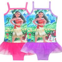 Wholesale Girls Swim Ruffle - Girls Moana Swimwear Cartoon One Pieces Swimsuits Kids Ruffled Swimming Girl Bathing Suit Beach Wear Kids Swimsuit G044
