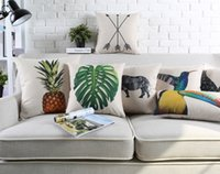 Wholesale Rhino Cover - Free shipping Geometric triangles bird deer rhino giraffe arrows pineapple monstera leaf pattern Cushion Cover home decorative pillow Case