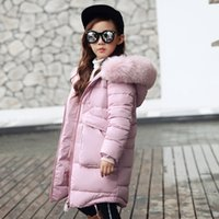 Wholesale New Pad For Kids - 2017 New Girls Long Padded Jacket Children Winter Coat Kids Warm Thickening Hooded down Coats For Teenage Outwear free shipping