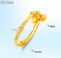 bracelets en or 24k achat en gros de-Ne jamais se faner Bell Bracelet Bracelet Bijoux or 24k rempli Bracelet extensible fabriqué par l'environnement de cuivre