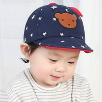 Wholesale Bear Head Hat - Retail 2017 Spring Unisex Child Soft Brim Baseball Cap Kid Kids Bear Head Five-pointed Star Print Adjustable Baseball Hat