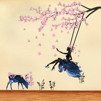 Wholesale Tree Blossom Wall Stickers - New Flower Girl and Plum Blossom Wall Sticker Landscape Removable Tree Wall Decal For Living Room and Bedroom Home Decoration PVC Sticker