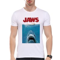 Wholesale Vintage Tee Shirt Designs - TEEHEART 2017 Summer Vintage Movie Jaws Design T Shirt Men's High Quality Hipster Shark Print Tops Tees PB561