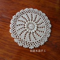 Wholesale Flower Pics Free - Wholesale- 2015 free shipping 6 pics lot cotton crochet lace doilies for home decor kitchen accessories with flowers place mat coaster mats